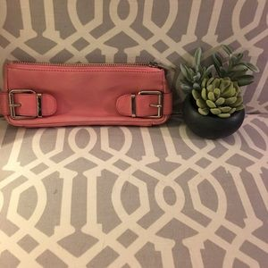 Pink Banana Republic leather clutch